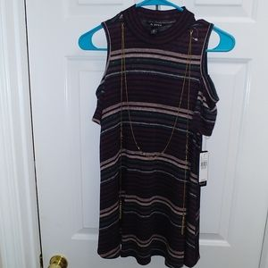 A.BYER Stripe Marbled Sweater Knit Chain Top M